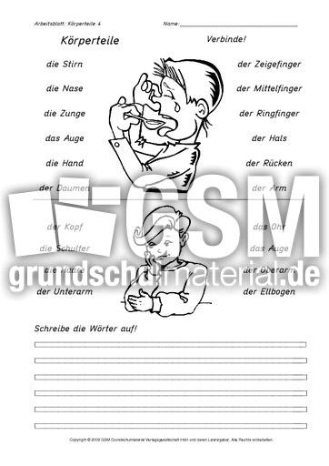 arbeitsblatt vorschule 187 k246rperteile arbeitsblatt deutsch
