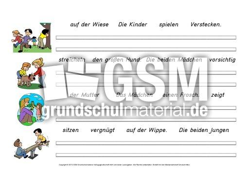 Arbeitsblatt Vorschule deutsche sätze bilden : Su00e4tze-zu-Bildern-schreiben-1-10 - Su00e4tze bilden - Deutsch DaZ-Deutsch als Zweitsprache ...