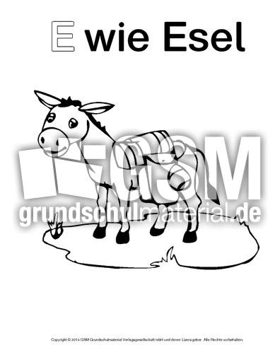 E Wie Esel 2 Ausmalbilder Zum Abc Anlaute Deutsch