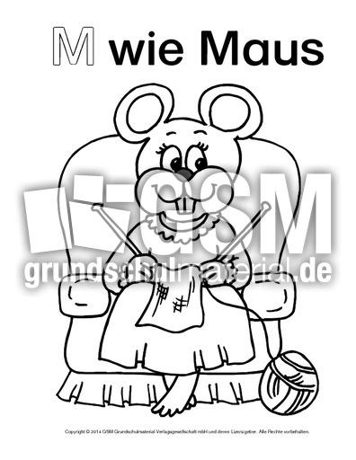 mwiemaus3  ausmalbilder zum abc  anlaute  deutsch