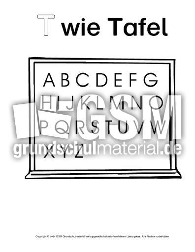 T Wie Tafel 1 Ausmalbilder Zum Abc Anlaute Deutsch Klasse 1