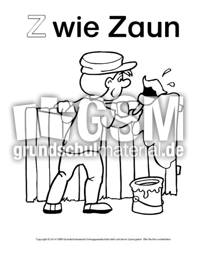 Z Wie Zaun 2 Ausmalbilder Zum Abc Anlaute Deutsch Klasse 1