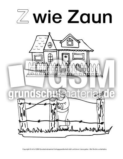 Z Wie Zaun 3 Ausmalbilder Zum Abc Anlaute Deutsch Klasse 1