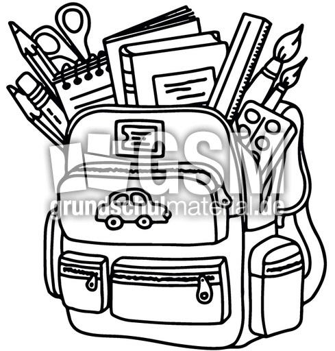 Schule clipart schwarz weiß  Schultasche schwarz-weiß - Schule-2 - Bildkarten - Deutsch Klasse 1 ...