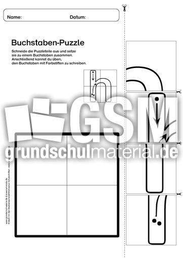 buchstabenpuzzle vier teile kleine buchstaben zum nachschreiben buchstabenpuzzle 1. Black Bedroom Furniture Sets. Home Design Ideas
