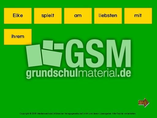 wort f r wort zum satz 7 s tze erlesen lesen und schreiben computer bungen deutsch. Black Bedroom Furniture Sets. Home Design Ideas