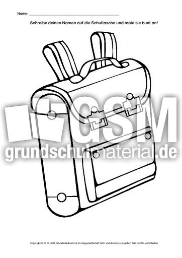 Arbeitsblatt Meine Schultasche : Meine schultasche allerlei zum schulanfang