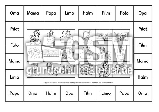 bingo erste w rter bayerndruck a 1 10 bingo erste w rter grundschulmaterial fibel deutsch. Black Bedroom Furniture Sets. Home Design Ideas