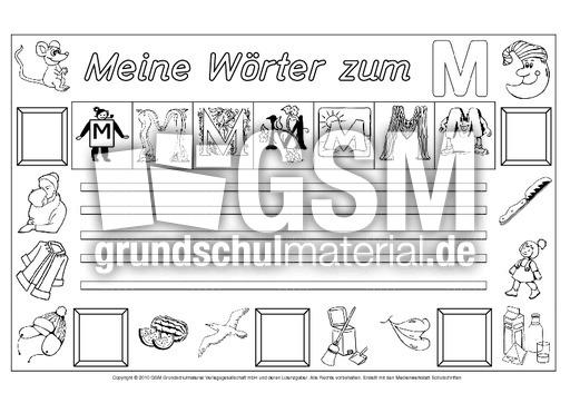 Wörter Zum M Freies Schreiben Grundschulmaterial Fibel Deutsch