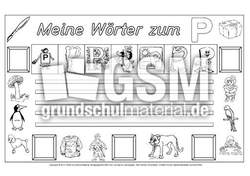 Wörter Zum P Freies Schreiben Grundschulmaterial Fibel Deutsch
