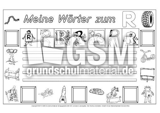 Arbeitsblatt Buchstabe R : Wörter zum r freies schreiben grundschulmaterial fibel