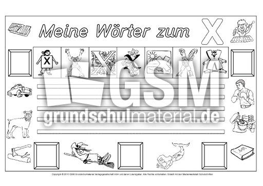 Wörter-zum-X - Freies-Schreiben - Grundschulmaterial-Fibel - Deutsch ...