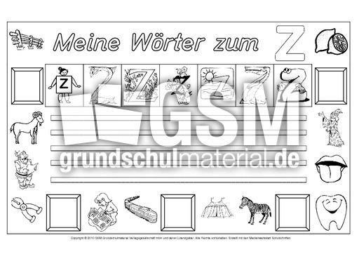 Wörter Zum Z Freies Schreiben Grundschulmaterial Fibel Deutsch