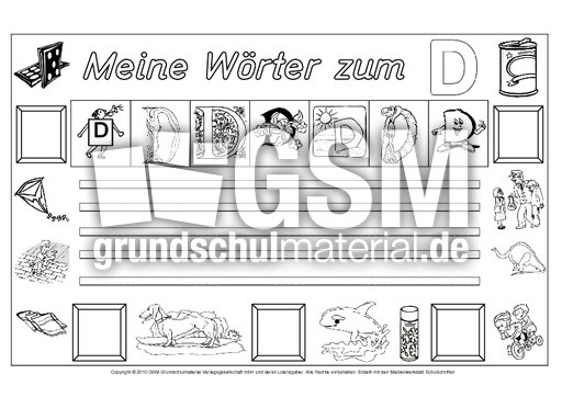 w rter zum d freies schreiben grundschulmaterial fibel deutsch klasse 1. Black Bedroom Furniture Sets. Home Design Ideas