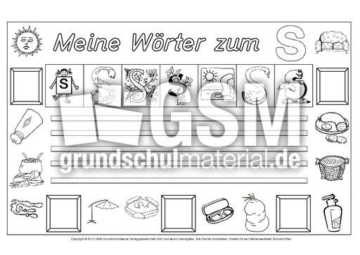 w rter zum s freies schreiben grundschulmaterial fibel deutsch klasse 1. Black Bedroom Furniture Sets. Home Design Ideas