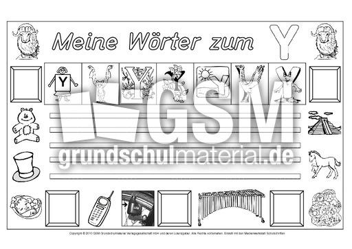 Wu00f6rter-zum-Y - Freies-Schreiben - Grundschulmaterial-Fibel - Deutsch Klasse 1 ...