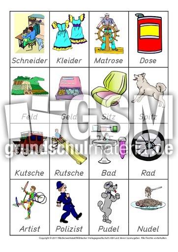 Reime zuordnen (Arbeitsblatt) in der Grundschule - Übungen mit ...