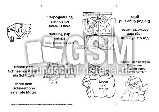 Adventsfaltbuch Klasse 1 Lesen Malen 4 Advent Lese Mal Faltbuch