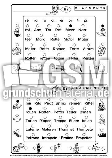lese bung w rter mit r r buchstabensynthese lesen deutsch klasse 1. Black Bedroom Furniture Sets. Home Design Ideas