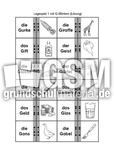 legespiel mit g w rtern 1 legespiele lese bungen lesen deutsch klasse 1. Black Bedroom Furniture Sets. Home Design Ideas