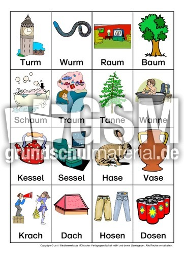 Bild-Wortkarten-Reimwu00f6rter-ND-1-18 - Reimwu00f6rter-Wort-Bildkarten - Reimwu00f6rter - u00dcbungen mit ...
