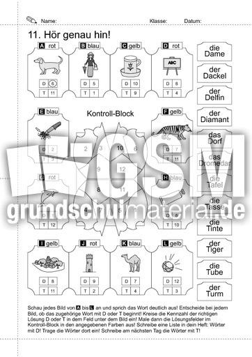 11 h r genau hin w rter mit t und d lrs heft 1 schreiben deutsch klasse 1. Black Bedroom Furniture Sets. Home Design Ideas