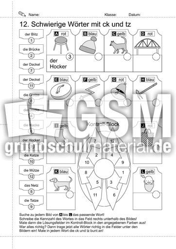 16 lrs w rter mit ck und tz arbeitsbl tter lrs 2 rechtschreiben schreiben deutsch klasse. Black Bedroom Furniture Sets. Home Design Ideas