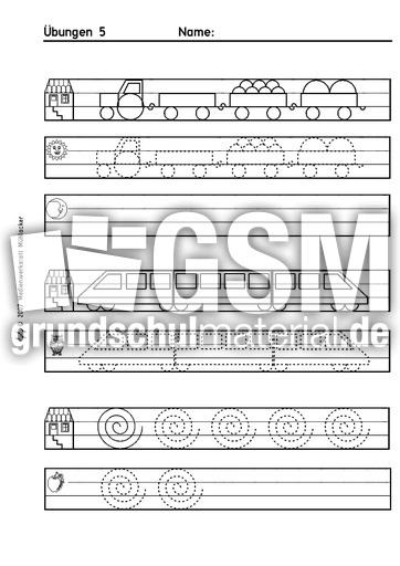 uebungen 5 schwung bungen schreiben lernen schreiben deutsch klasse 1. Black Bedroom Furniture Sets. Home Design Ideas