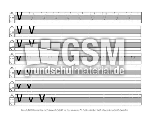 buchstabe v druckschrift mittellinie grau schreiblehrg nge deutsch klasse 1. Black Bedroom Furniture Sets. Home Design Ideas
