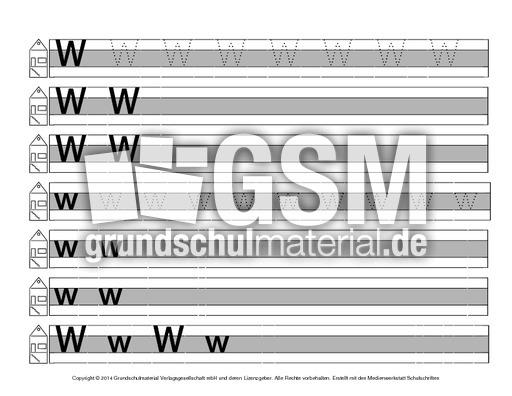 Buchstabe A Grundschule Arbeitsblatt : Buchstabe w druckschrift mittellinie grau