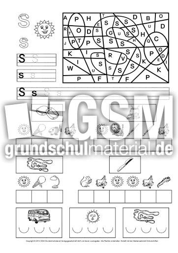 u00dcbungsblatt-zum_S - Buchstaben-u00dcbungen - Schreiblehrgu00e4nge - Deutsch Klasse 1 - Grundschulmaterial.de