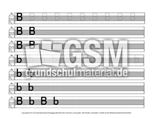 Buchstabe-B - Druckschrift-Mittellinie-grau - Schreiblehrgu00e4nge - Deutsch Klasse 1 ...