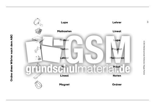 Schule1-5 - Su00fcd-Druckschrift - ABC ordnen - VARIO-karten - Deutsch Klasse 1 - Grundschulmaterial.de