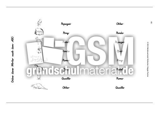 Tiere1-10 - VA-Schrift - ABC ordnen - VARIO-karten - Deutsch Klasse 1 - Grundschulmaterial.de