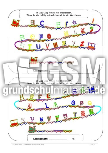Abc Zug Arbeitsblatt : Abc zug buchstaben color