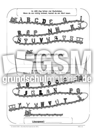 ABC - Zug 4 Buchstaben sw - ABC-Zug 4 Buchstaben sw - ABC - Zug - ABC - u00dcbungen - Deutsch Klasse ...