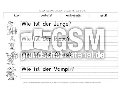 adjektive richtig zuordnen 11 erste bungen adjektive deutsch klasse 2. Black Bedroom Furniture Sets. Home Design Ideas