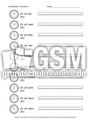 Arbeitsblatt Uhrzeiten : Ab daz uhrzeiten pdf