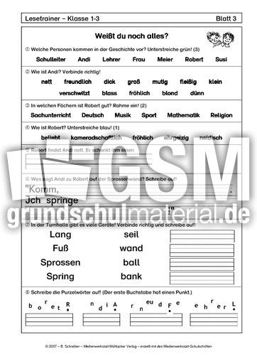 Der Neue 2 - Aufgabenblätter - Lesetrainer Stufe 2 - Der Lesetrainer ...