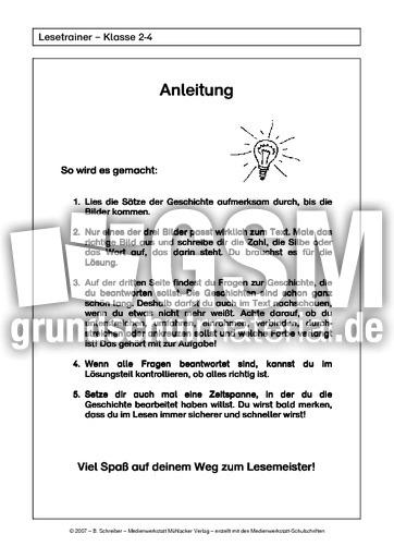 3 Anleitung Aufgabenblätter Lesetrainer Stufe 3 Der