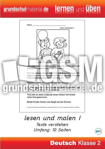 lesen-und-malen-1 - Lernhefte-Lesen - Lesen - Deutsch Klasse 2 - Grundschulmaterial.de