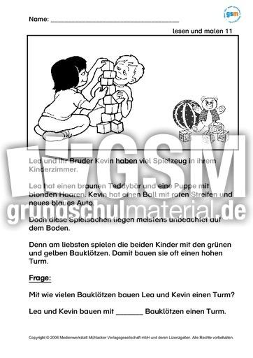 lesen-und-malen-2 - Lernhefte-Lesen - Lesen - Deutsch Klasse 2 - Grundschulmaterial.de