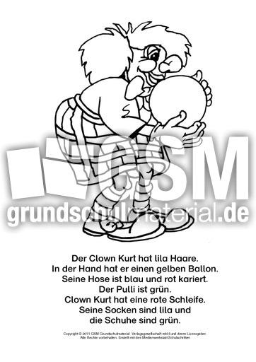 lesen malen mit clowns 1 6 fasching lesen und malen lesen und malen lesen deutsch klasse. Black Bedroom Furniture Sets. Home Design Ideas
