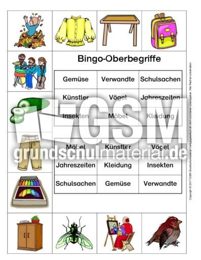 Bingo-Oberbegriffe-7 - Oberbegriffe- Sammelnamen - Nomen - Deutsch ...