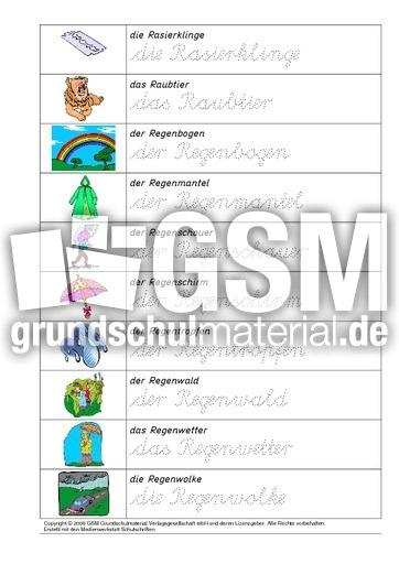 arbeitsblatt vorschule 187 zusammengesetzte nomen 4 klasse