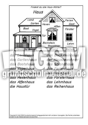 Haus-Wörter-Lösung - A-M-Nomen zusammensetzen - Nomen zusammensetzen ...