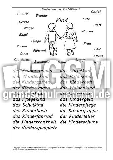 Kind-Wörter-Lösung - A-M-Nomen zusammensetzen - Nomen zusammensetzen ...