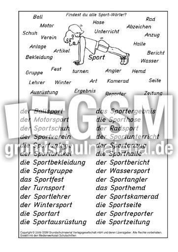 Sport-Wörter-Lösung - N-Z-Nomen zusammensetzen - Nomen ...