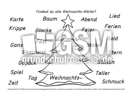 Weihnachts Wörter N Z Nomen Zusammensetzen Nomen Zusammensetzen