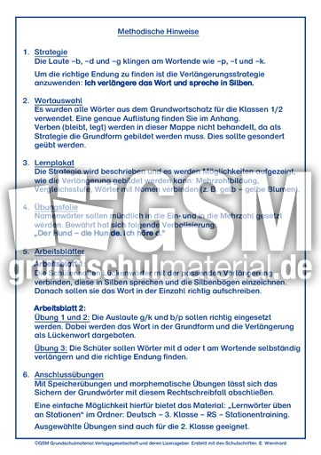 Auslautverhärtung, Kl. 2, LP+ - LehrplanPlus RS-Strategien ...